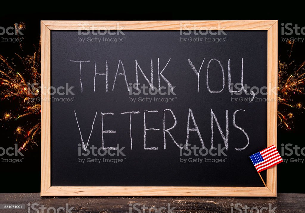 greeting card of handwriting text thank you veterans is written stock photo