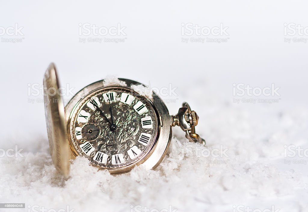 Greeting card of New Year with watch stock photo