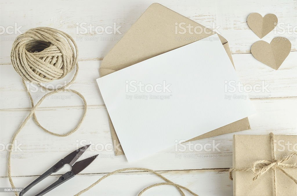 greeting card with brown envelop stock photo