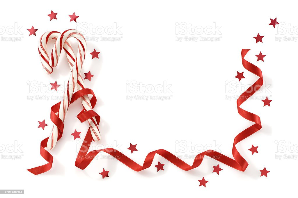 Greeting Card With Candy Canes Ribbon And Confetti.Color Image stock photo