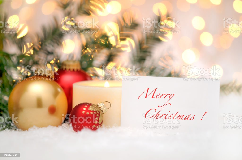 Greeting card with christmas balls and pine tree royalty-free stock photo