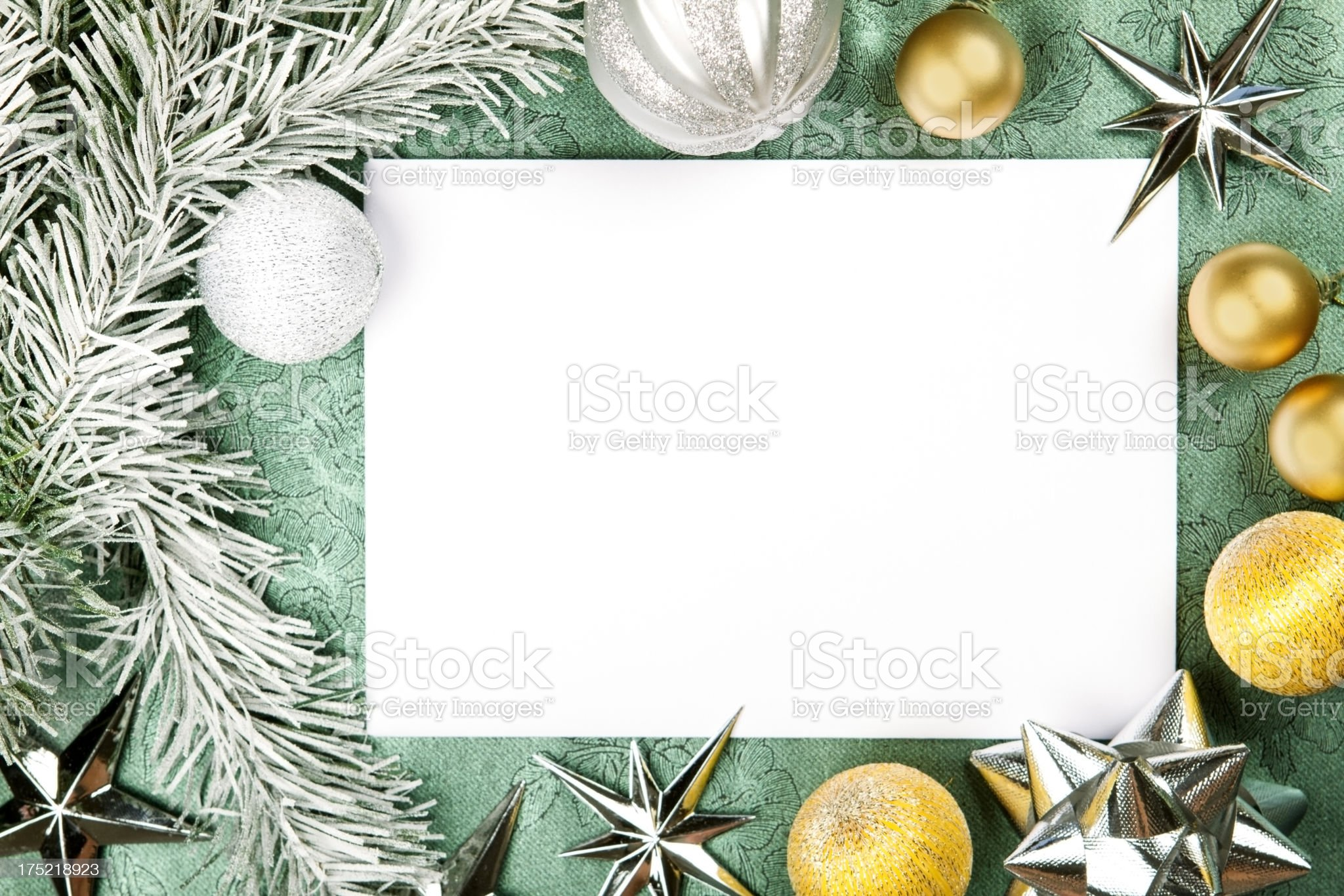 Greeting card with copy space and Christmas decoration royalty-free stock photo