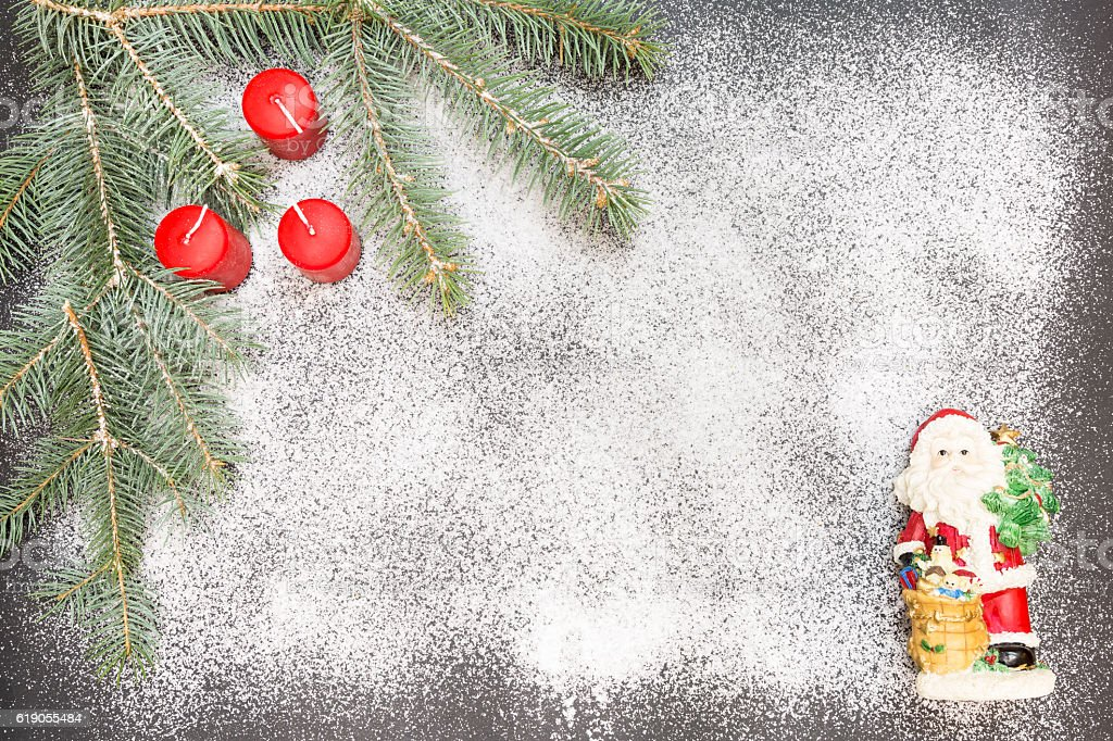 Greeting card with festive decoration on snow background simulating sugar stock photo