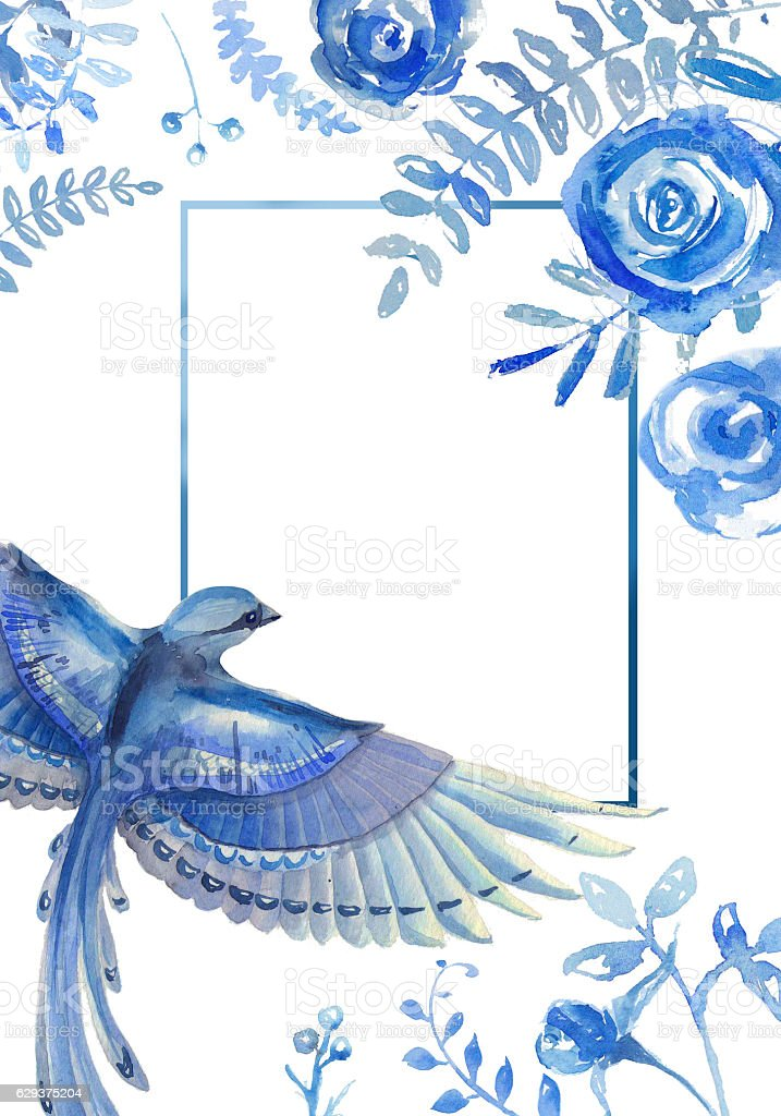 Greeting card with floral elements  and blue bird on white stock photo