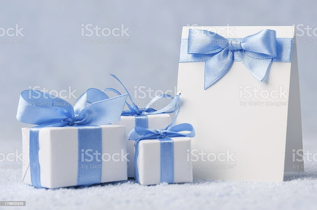 Greeting card with gifts royalty-free stock photo