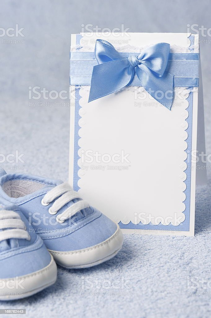 Greeting children form with booties royalty-free stock photo