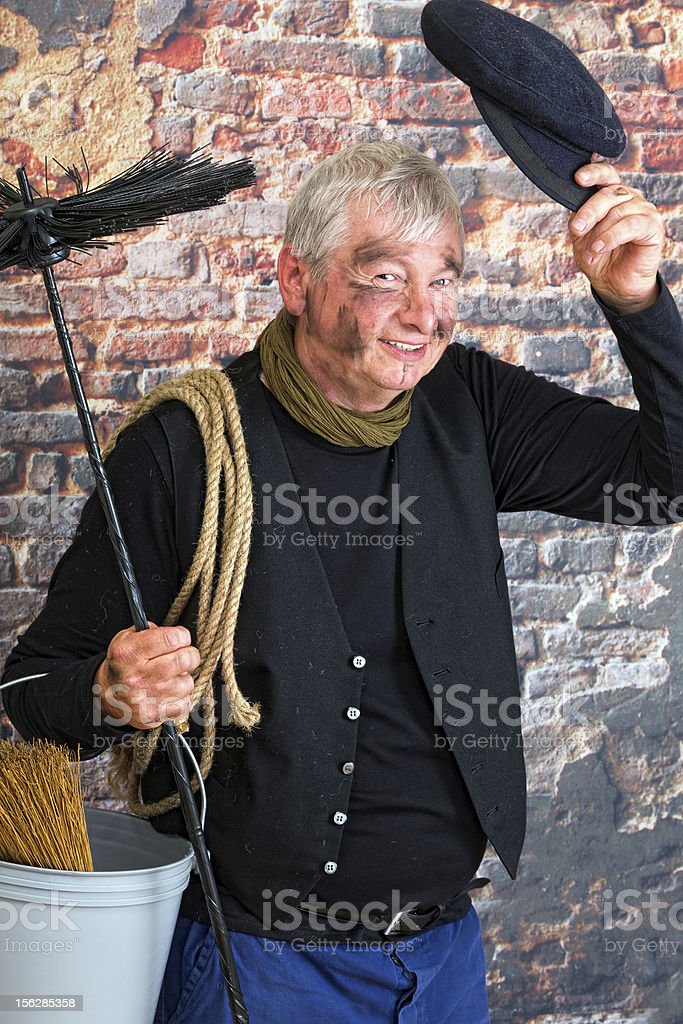 Greeting chimney sweep stock photo