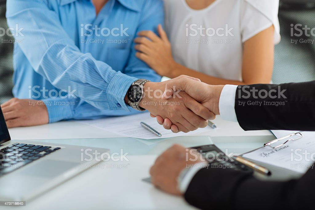 Greeting clients stock photo