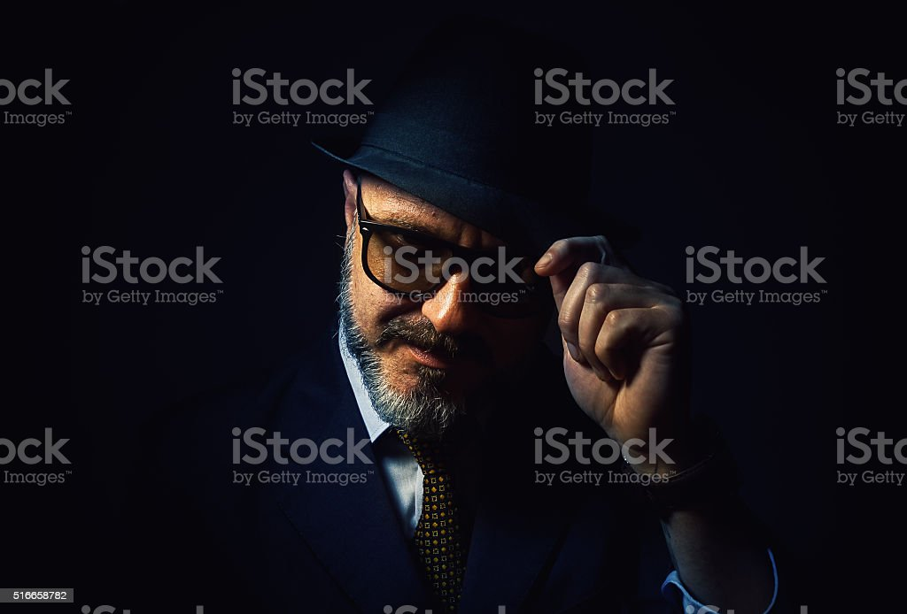 Greeting From a Beard Man stock photo