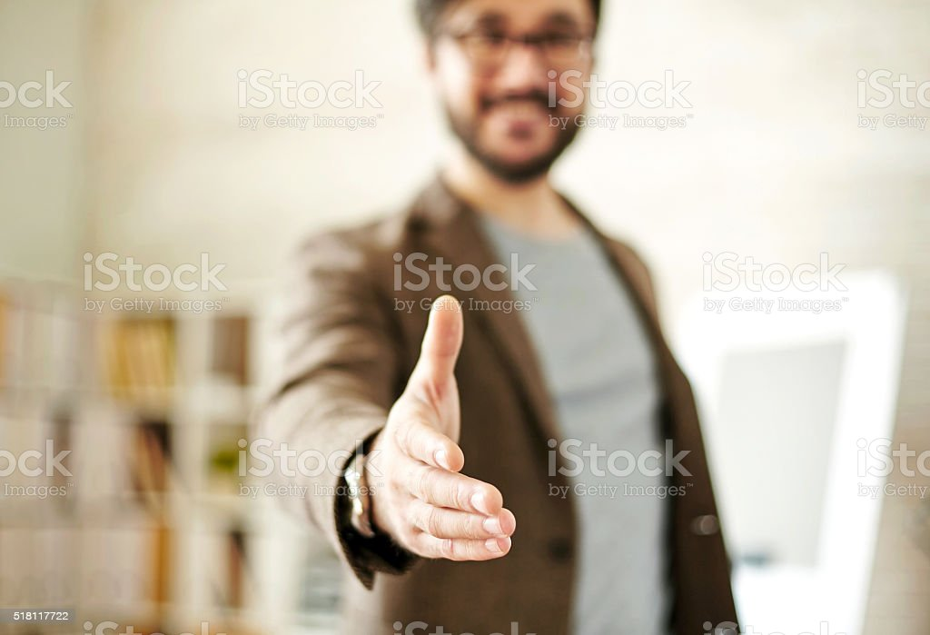 Greeting gesture stock photo