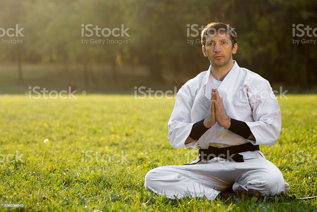 greeting of martial arts stock photo