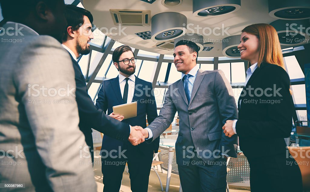 Greeting of partners stock photo