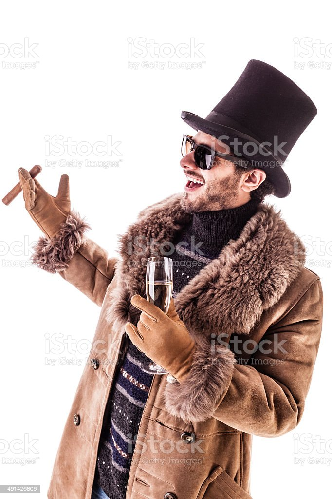 Greeting other rich people stock photo