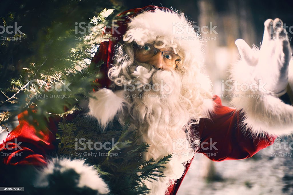 Greeting Santa. stock photo