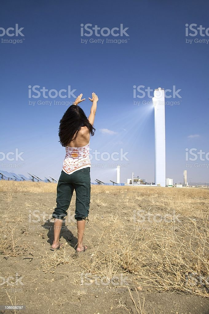 greeting solar power tower royalty-free stock photo