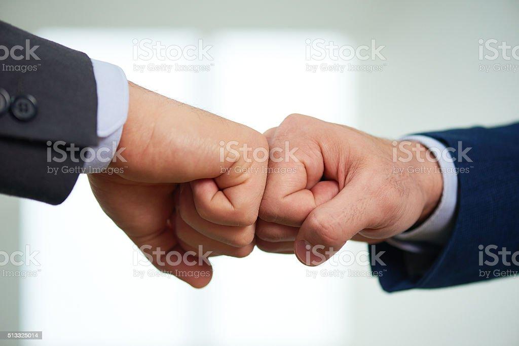Greeting team member stock photo