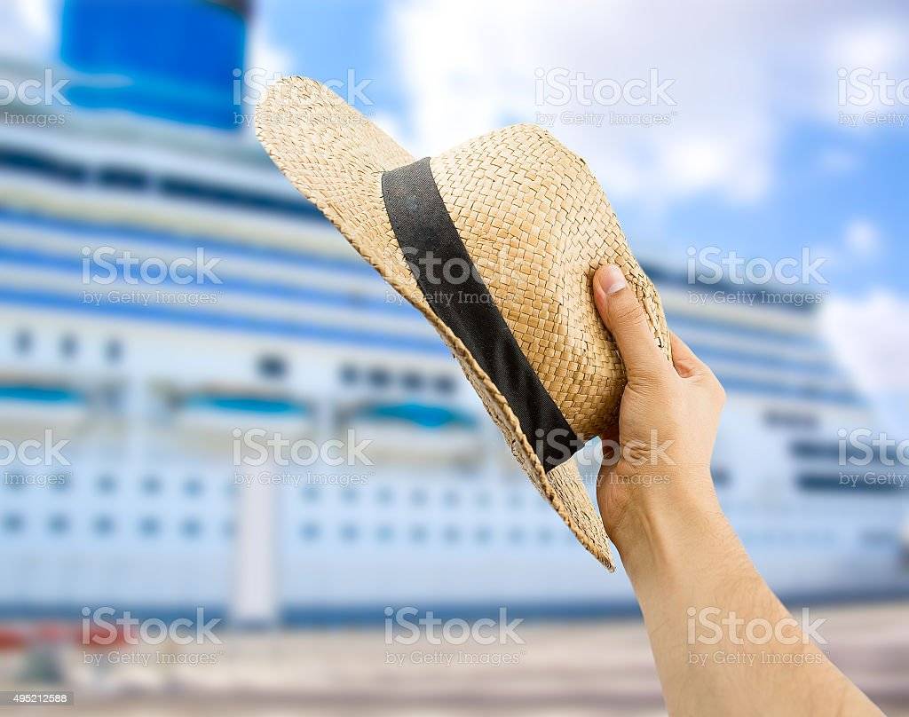 greeting the cruise ship's people stock photo