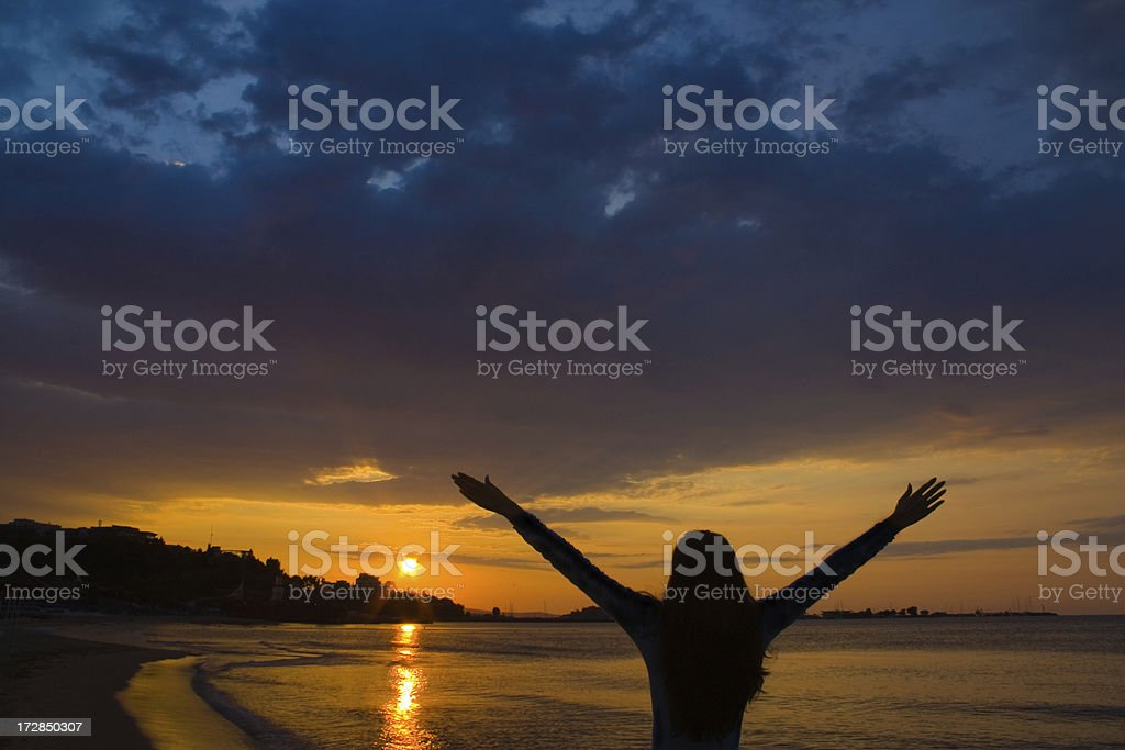 Greeting the dawn royalty-free stock photo