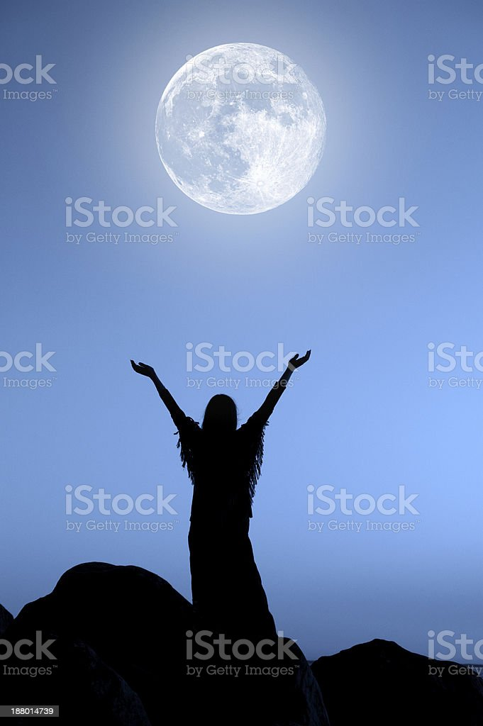Greeting the Moon stock photo