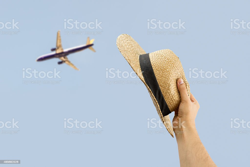 greeting the plane stock photo