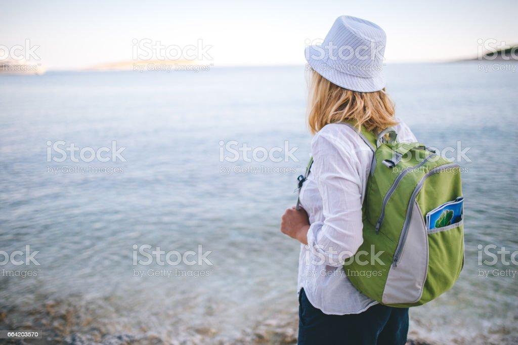 Greeting the sea stock photo