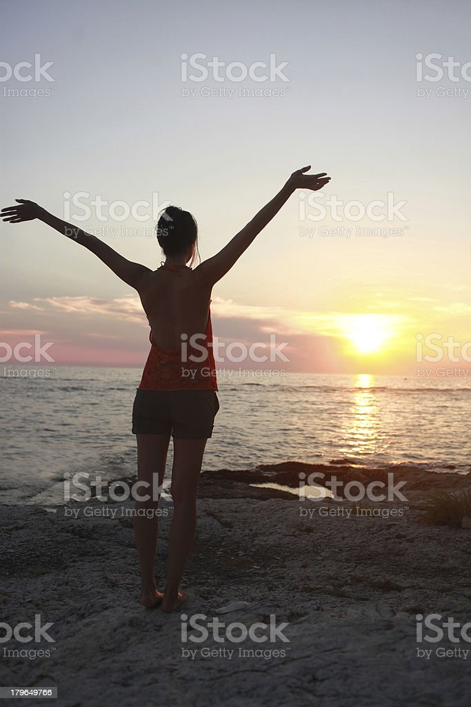 greeting the sun royalty-free stock photo