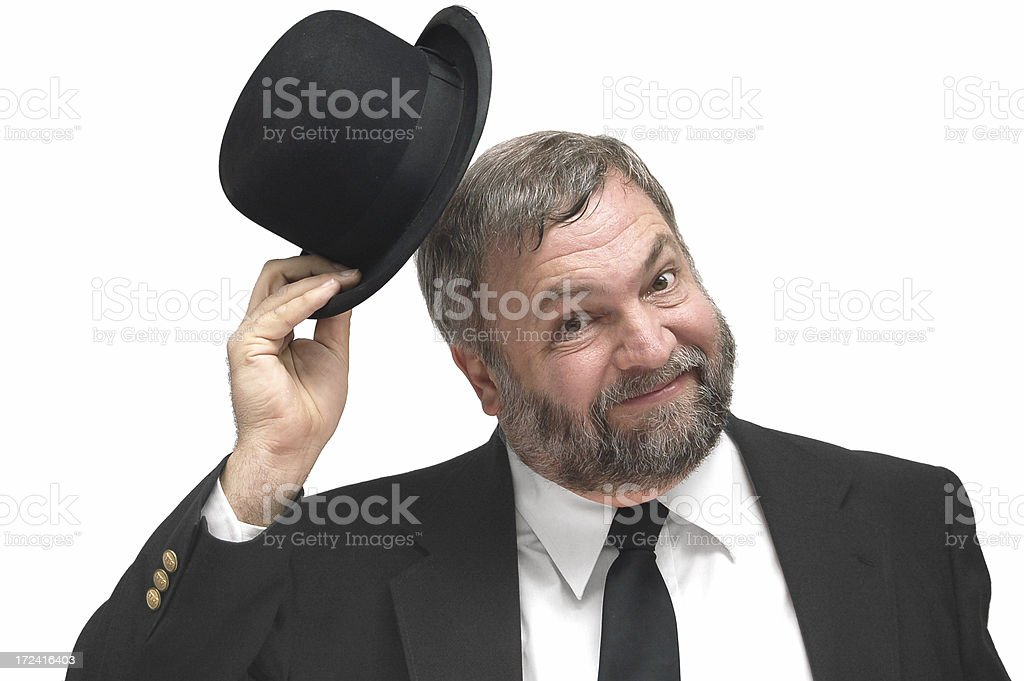 Greeting with a Tip of the Hat stock photo