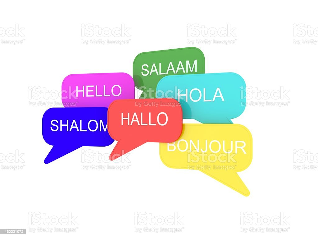 Greeting Words Written into Speech Bubles stock photo