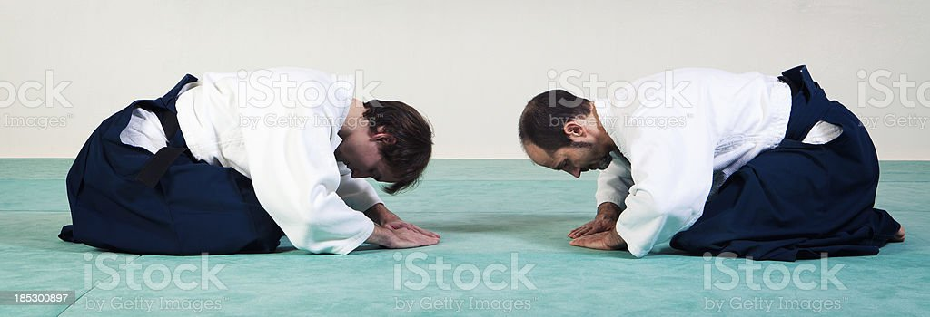 Greetings form of martial arts stock photo