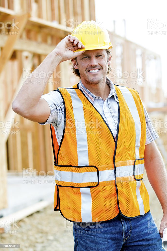 Greetings from the construction site stock photo