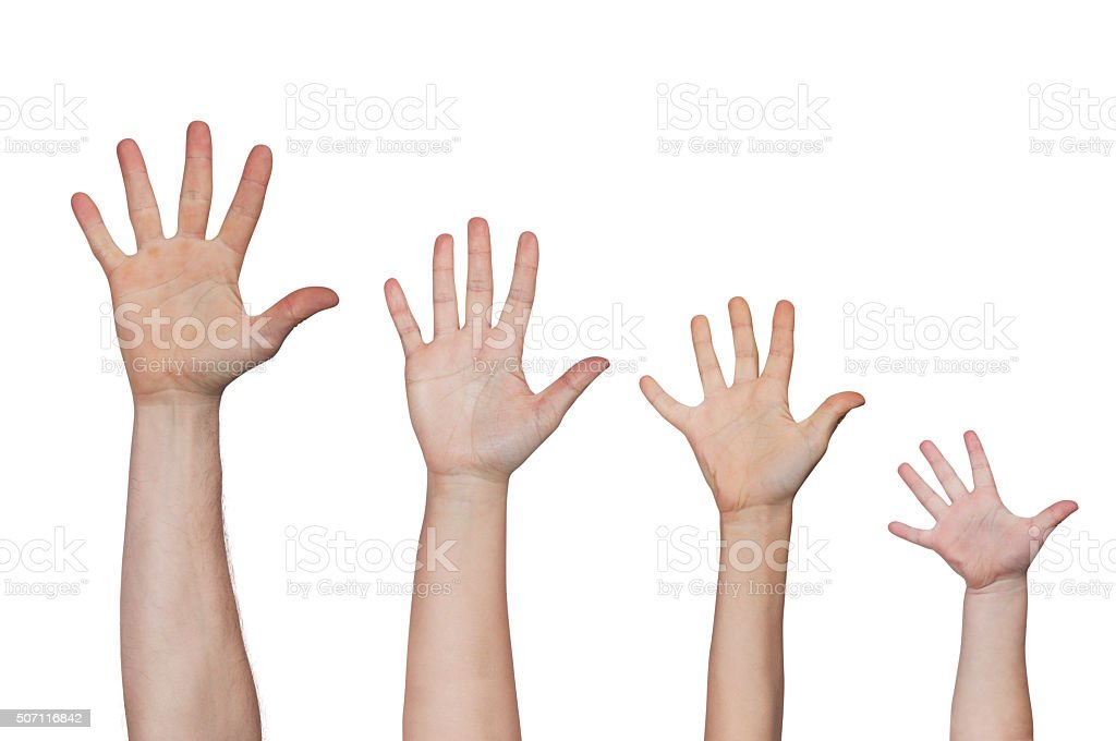 greetings hands of all members of the family stock photo