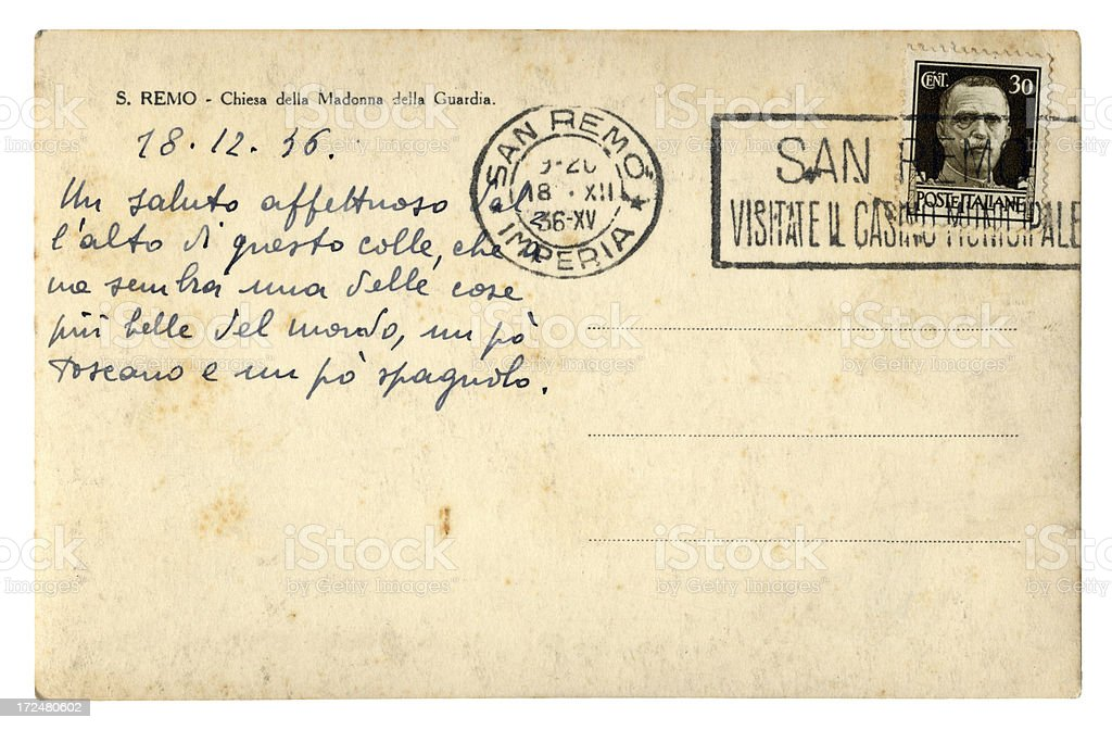 Greetings postcard from San Remo, Italy, 1936 royalty-free stock photo