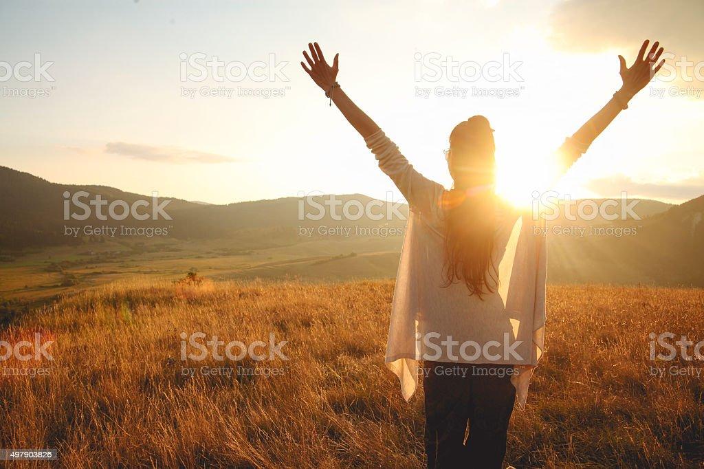 Greetings to the sun stock photo
