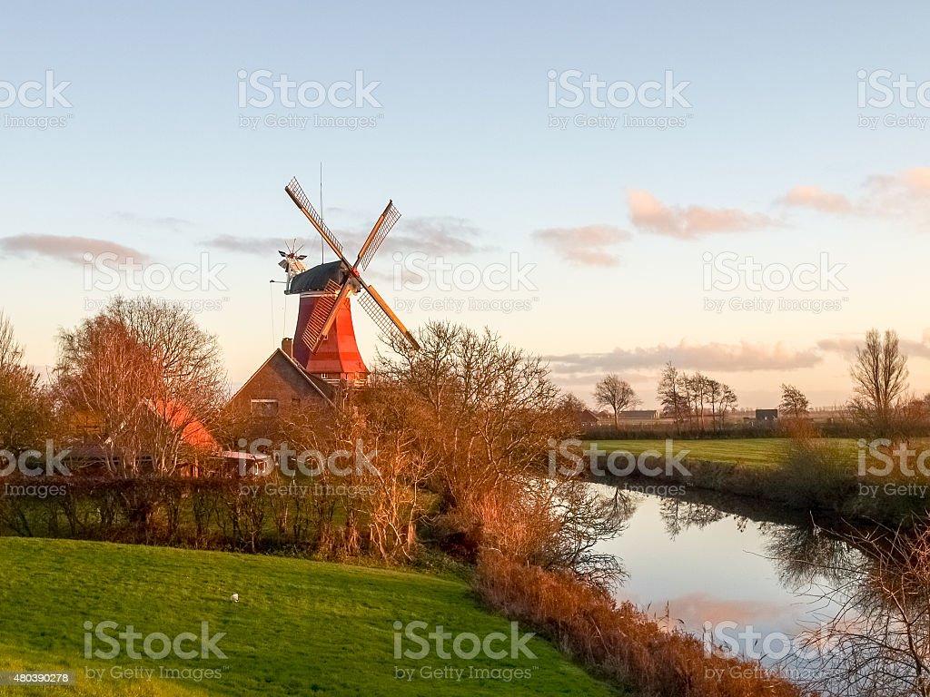 Greetsiel, traditional Windmill stock photo