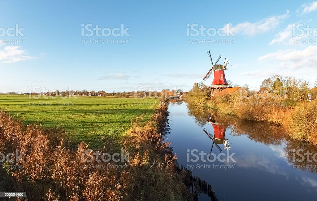 Greetsiel, traditional Windmill stock photo