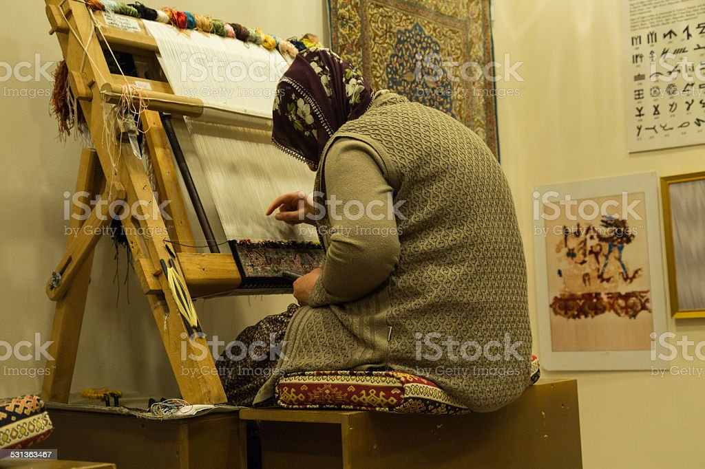 G?reme carpet making, Anatolia in Turkey stock photo