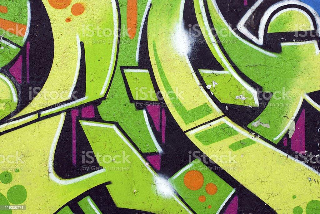 Gren part of graffiti stock photo