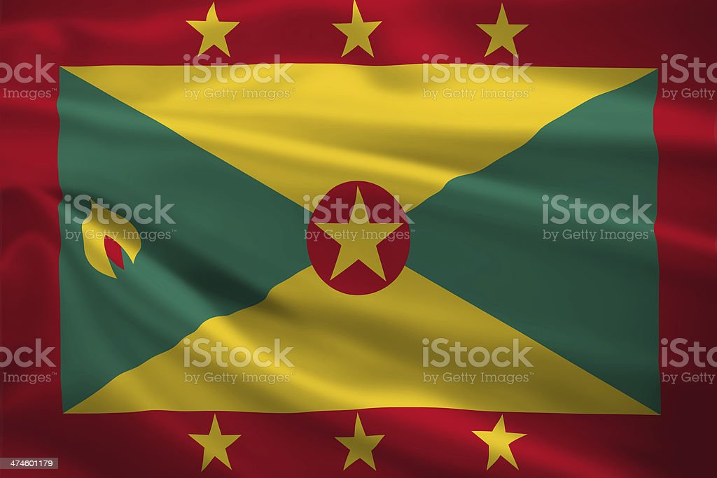 Grenada flag blowing in the wind stock photo