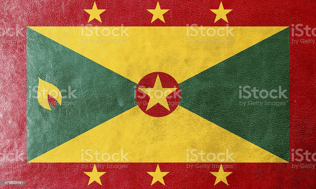 Grenada Flag painted on leather texture royalty-free stock photo
