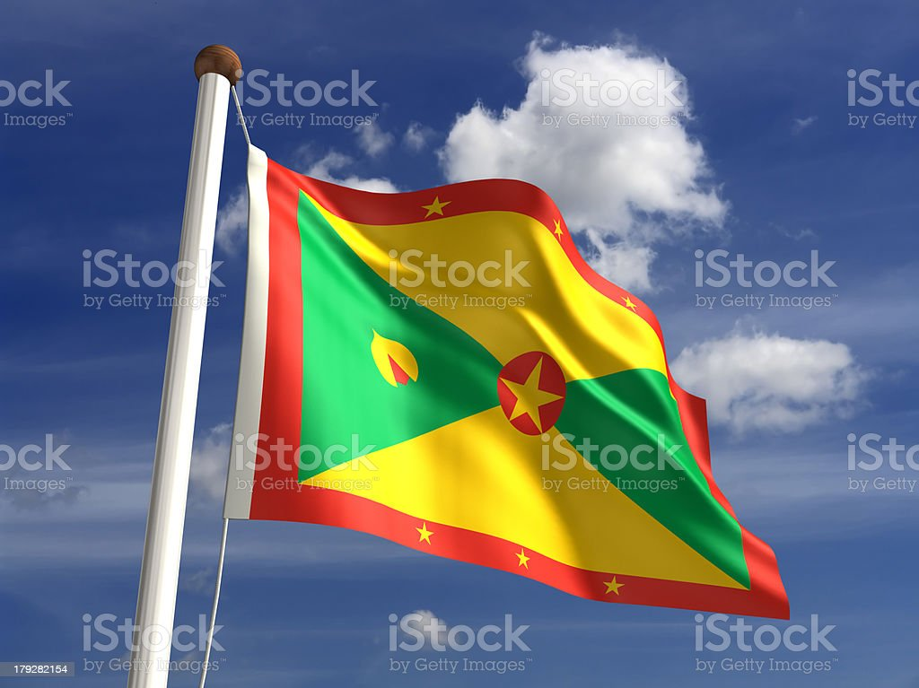 Grenada flag (with clipping path) stock photo