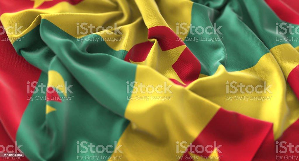Grenada Flag Ruffled Beautifully Waving Macro Close-Up Shot stock photo