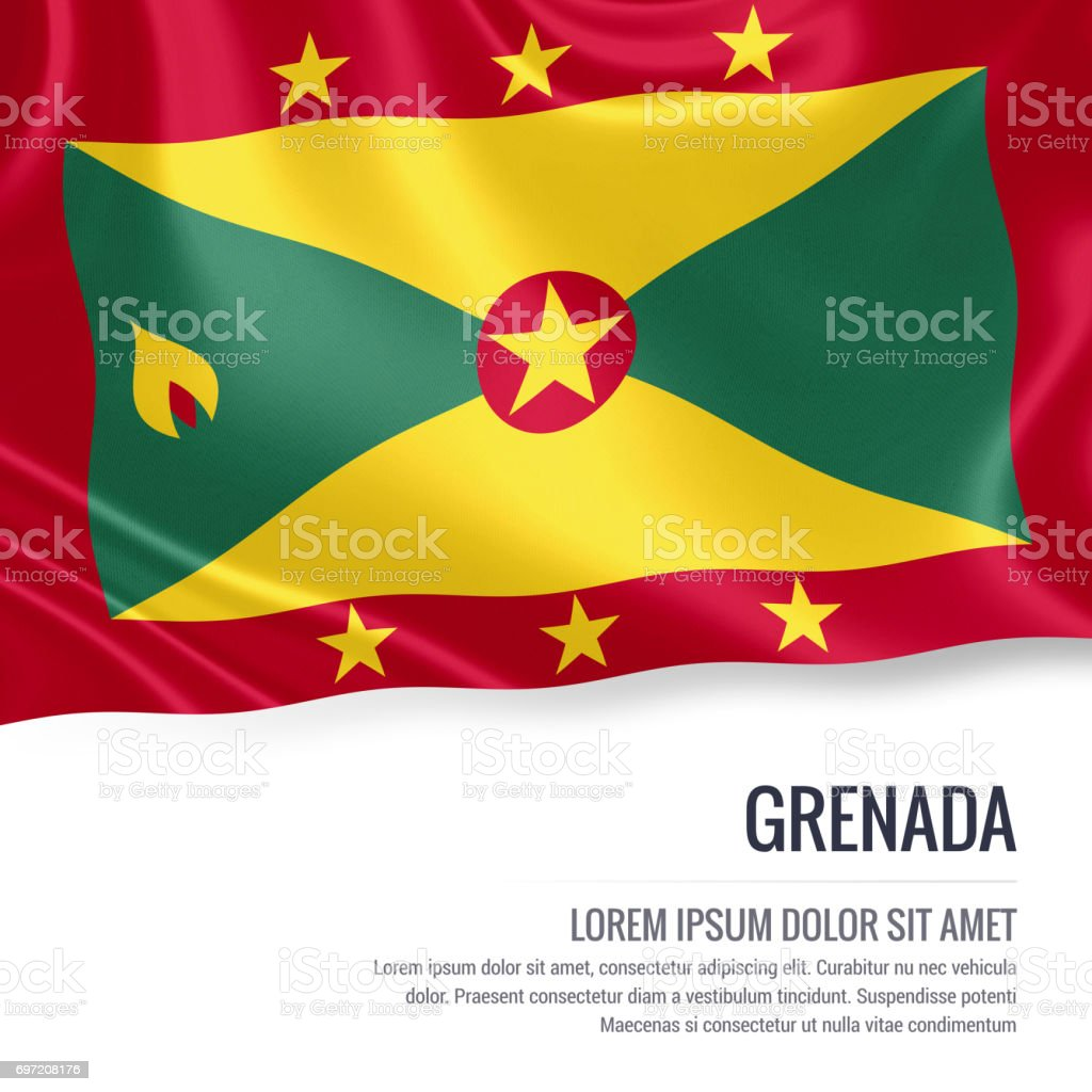 Grenada flag. Silky flag of Grenada waving on an isolated white background with the white text area for your advert message. 3D rendering. stock photo