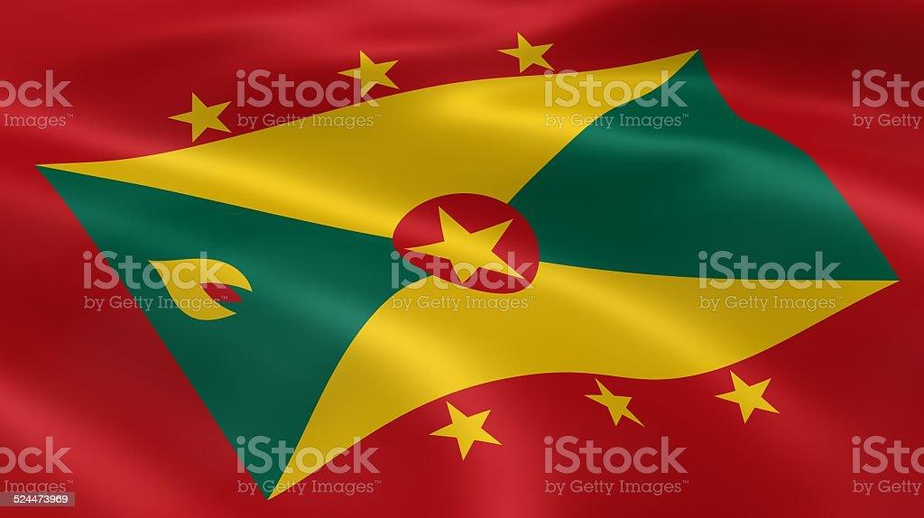 Grenadian flag in the wind stock photo