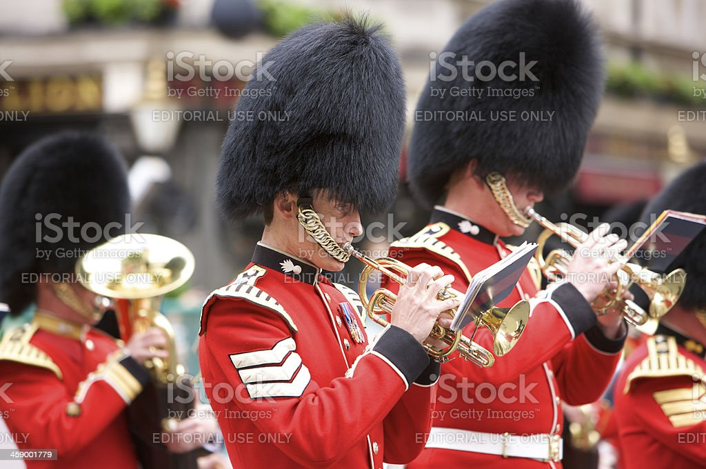 Grenadier Guard Buglers at the Queen's Diamond Jubilee State procession royalty-free stock photo
