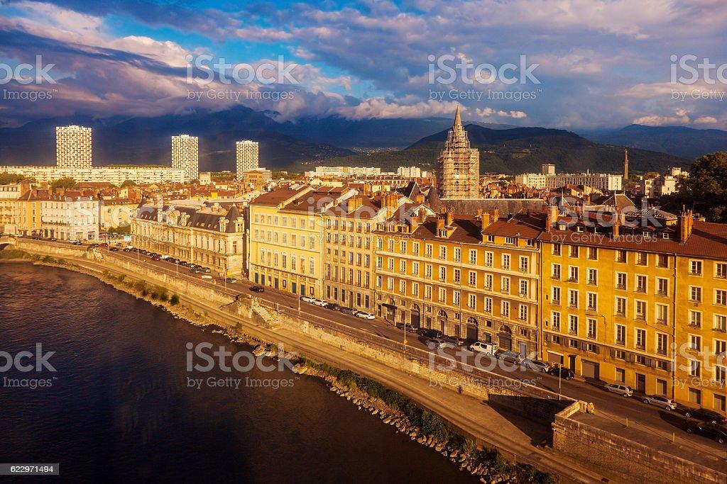 Grenoble architecture along Isere River stock photo