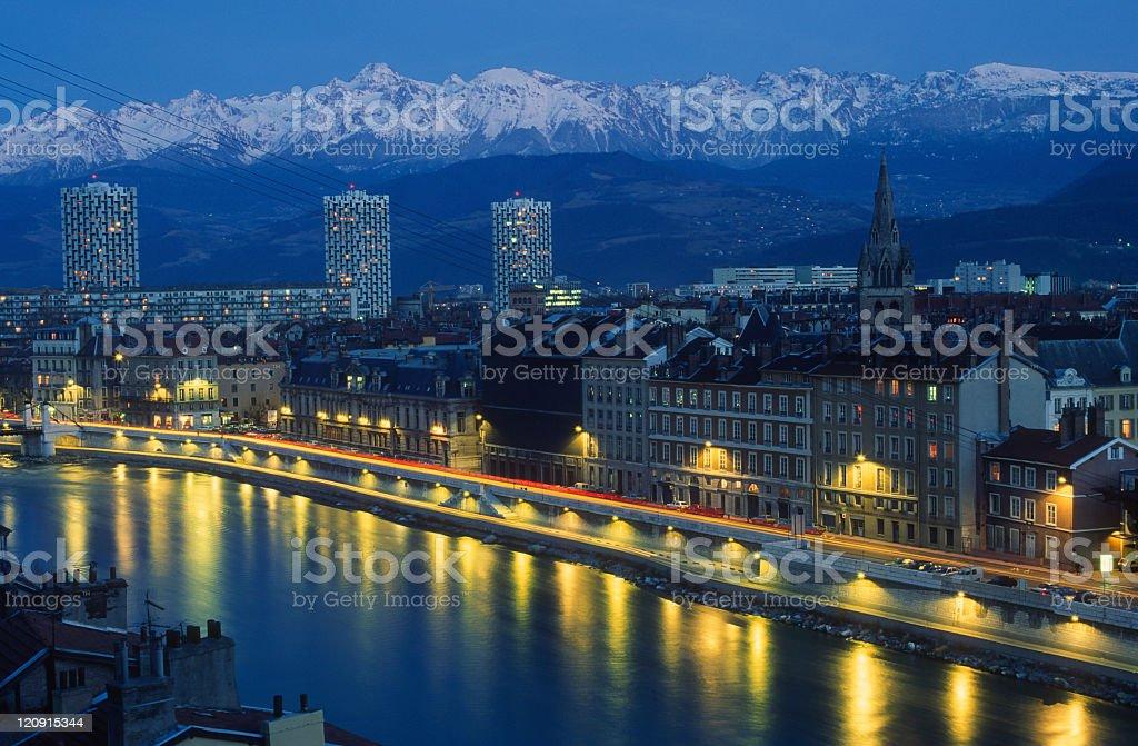 Grenoble at night stock photo