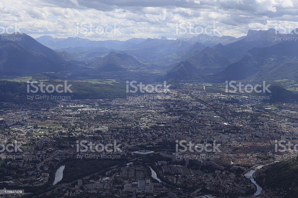 Grenoble from La Bastille stock photo