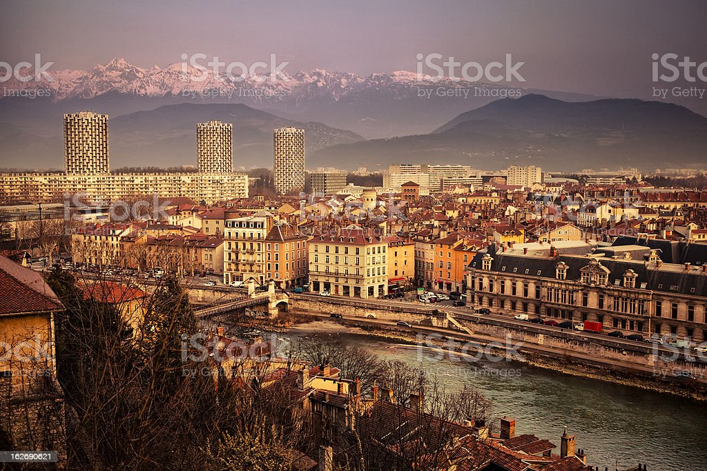 Grenoble skyline stock photo