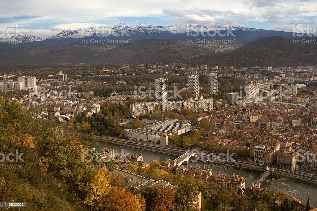 Grenoble view stock photo