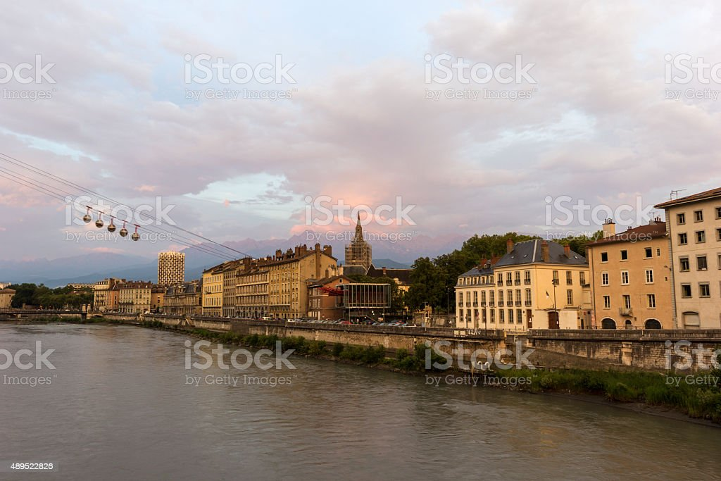 Grenoble-Bastille cable car in France stock photo